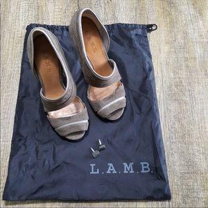 L.A.M.B Gray Suede Heels